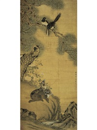 wild cats staring at the birds on the branch by que lan