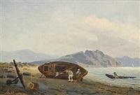 norsk kystparti med familie ved en båd by reinholdt fredrik boll