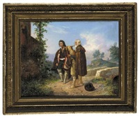 two peasants, one with bagpipes by a bridge (zwei bauern mit dudelsack nahe einer brücke) by ludwig (georg l.) vogel