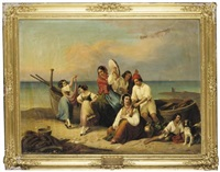 fisherfolk by the shore (fischer am strand) by ludwig vogel