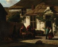 vesperzeit. bauernfamilie beim gemüseputzen auf dem hofe by philippus anthonius alexander kanne