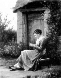 strickendes mädchen by lydie adèle laurent-desrousseaux