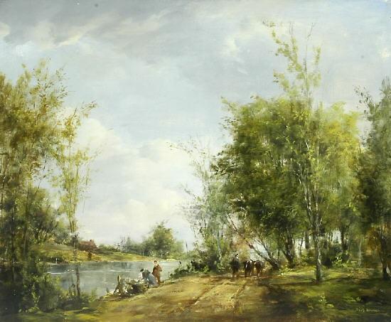 Spätsommer  Belebte Partie am Flussufer im Spätsommer by Peter Götz Pallmann ...
