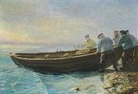 båden sættes i vandet, skagen by otto nielsen