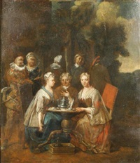 noble company in a park by jan baptist lambrechts