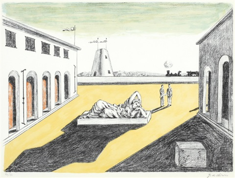 piazza ditalia sold with 185b set of 2 by giorgio de chirico