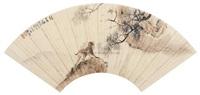 monkey and pine tree (+ calligraphy, verso) by wu bonian and li jian