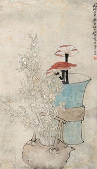 瓶花图 立轴 纸本 by ren bonian