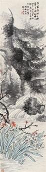 梅花水仙 立轴 纸本 by hu tiemei