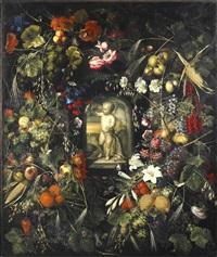 stilleben med exotiska frukter, blommor och insekter by ottmar elliger the elder