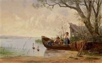 kinder in einem ruderboot, mit schiffchen spielend by gottlieb emil rittmeyer