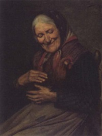 peasant woman with rooster by valentino valentini