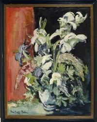 stilleben mit lilien in einer vase vor rotschwarzem hintergrund by hans rolf peter