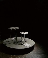 编竹铁桌 (2 works; various sizes) by nendo