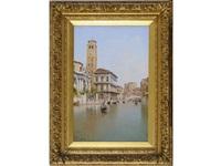 venice: the campanile dei frari, s. geremia and palazzo labia by rafael senet y perez