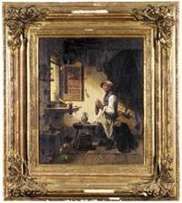 a man in his workshop darning his socks (ein handwerker in seiner werkstatt beim strümpfestopfen) by joseph hoegg