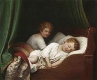 im reich der träume: ruhendes geschwisterpaar in einem himmelbett by leendert de koningh the younger