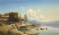 sommerdag ved en bjergso, i forgrunden en ung pige i en robåd by fritz chwala