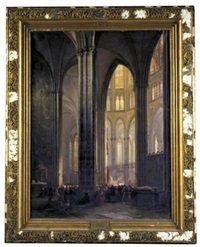 interior of cologne cathedral with a ceremony in progress (das innere des kölner doms während eines gottesdiensts) by andreas christian ludwig tacke