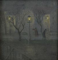 nattlig stadsbild med två figurer by ivar arosenius