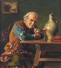 pfeifenraucher im historischen gewand am tisch mit gefülltem römer und steinzeugkrug by emil kuhlmann-reher
