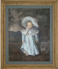 portrait of a young girl, full length, in a blue dress and matching bonnet, holding a lily by h. donald smith
