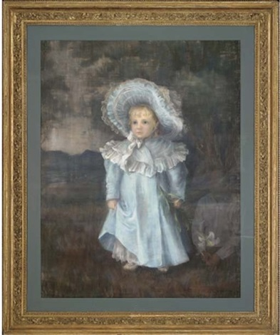 portrait of a young girl full length in a blue dress and matching bonnet holding a lily by h donald smith