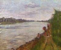 Badende am Rhein bei Rappenwörth, 1928