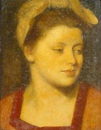 das maderl. porträt einer jungen frau in orange farbener robe, das hochgesteckte haar mit einer weißen haube bedeckt by sepp hilz