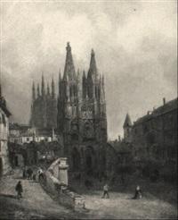 marktplatz eines mittelalterlichen städtchens by gustave adolphe simonau