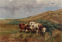 kühe in dünenlandschaft by léon barillot