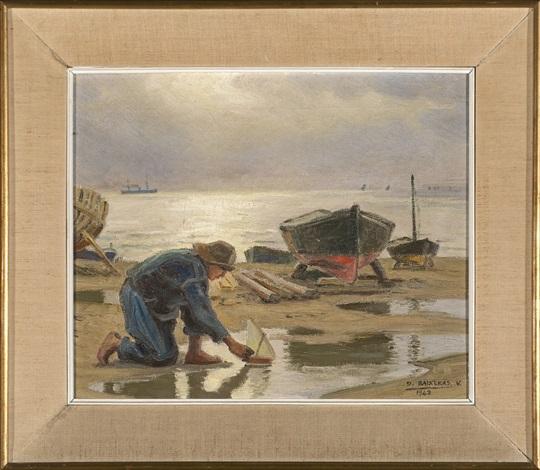 pescador con un barquito de juguete by dionisio baixeras y verdaguer