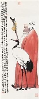 彭祖伴鹤图 by dai wei
