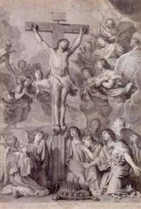 kristus på korset omgivet af engle by gérard edelinck