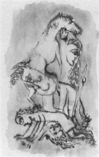 konglomerat aus zwei frauen, zwei männern, einem pferd und einer gans by cuno fischer