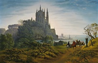 gotische kirche auf einem felsen am meer by karl friedrich schinkel