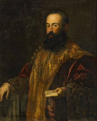 porträtt av påvligt sändebud möjligen den venetianske generalen jacopo soranzano dy 1518 1587 by jacopo robusti tintoretto