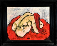 weiblicher rückenakt auf roter decke by christian peschke