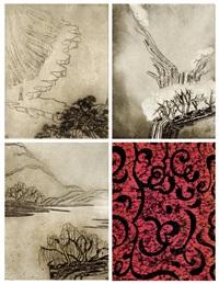 陶潜诗选铜板版画 (poetry of tao qian) (3 works) by sanyu