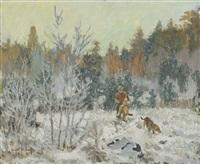 jägare med fälld räv samt jakthund by harald wiberg