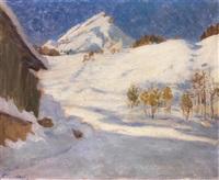 winterlandschaft davos by fritz overbeck