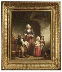 kücheninterieur. eine mutter versorgt ihre kinder mit brot by victor tortez