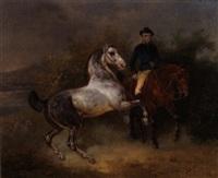 ausritt mit zwei pferden und hund by joseph simon volmar