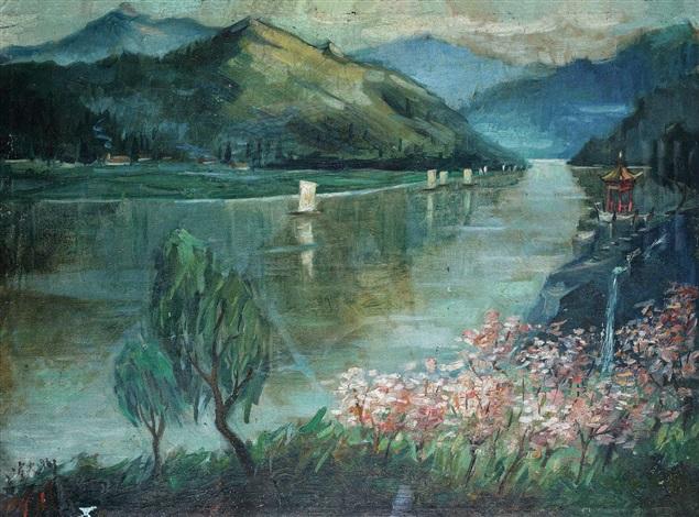 湖光山色 landscape by qin xuanfu