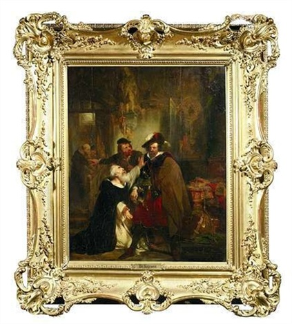 szene mit dominikanermönch und edelmann im historischen interieur by nicaise de keyser