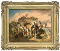 campagnalandschaft mit landleuten und musikanten am brunnen by mathias artaria