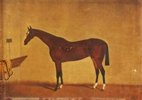 a bay horse in a stable by edwin (of bath) loder