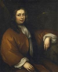 porträt eines herrn mit allonge perücke und in braunem hausmantel by aleijda wolfsen