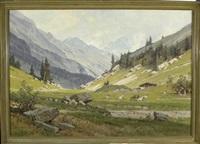 ziegen vor einer sennhütte an einem sommerlichen tag mit blick auf das hochgebirge by ernst carl walter retzlaff