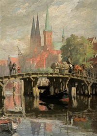 brücke in lübeck by hermann linde